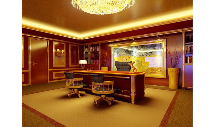 欧式老总办公室3d效果图设计及制作